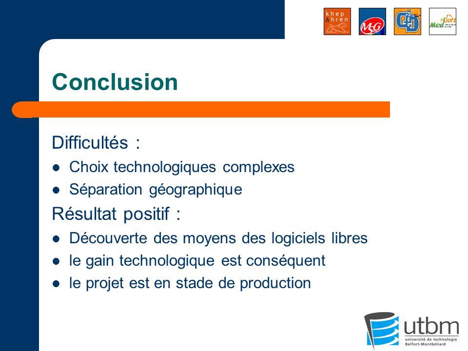 Conclusion Difficultés : Choix technologiques complexes Séparation géographique Résultat positif : Découverte des moyens des logiciels libres le gain