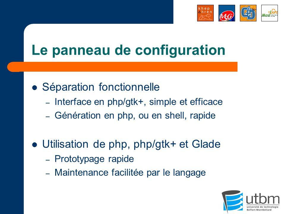 Le panneau de configuration Séparation fonctionnelle – Interface en php/gtk+, simple et efficace – Génération en php, ou en shell, rapide Utilisation