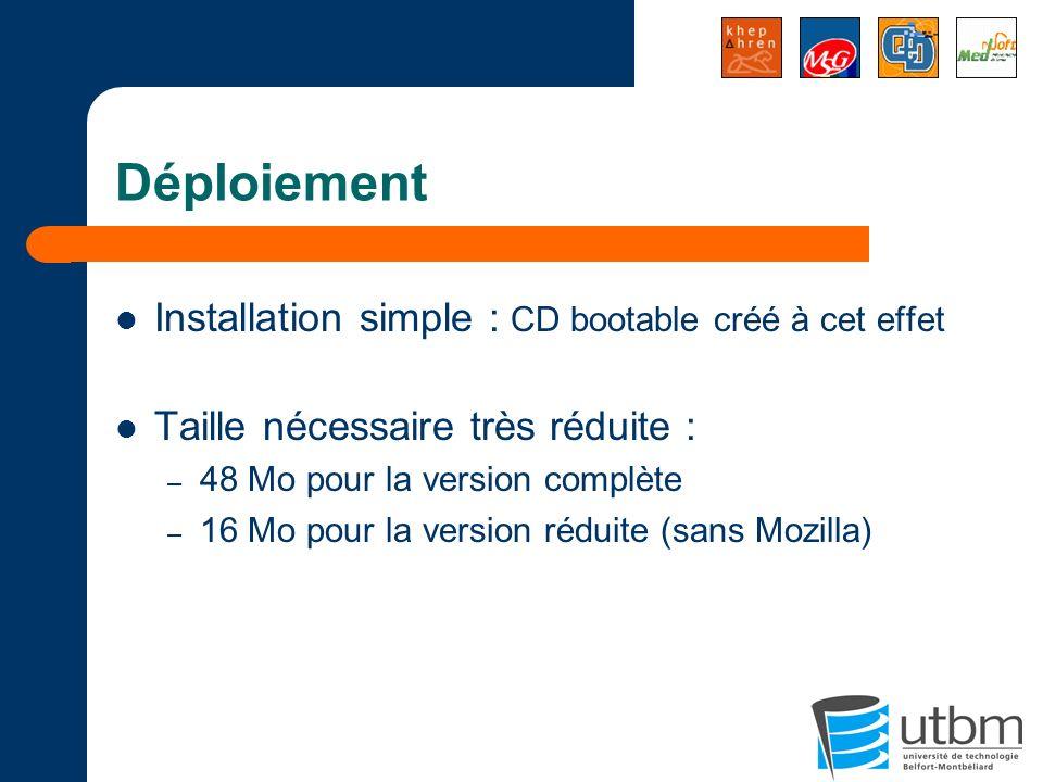Déploiement Installation simple : CD bootable créé à cet effet Taille nécessaire très réduite : – 48 Mo pour la version complète – 16 Mo pour la versi