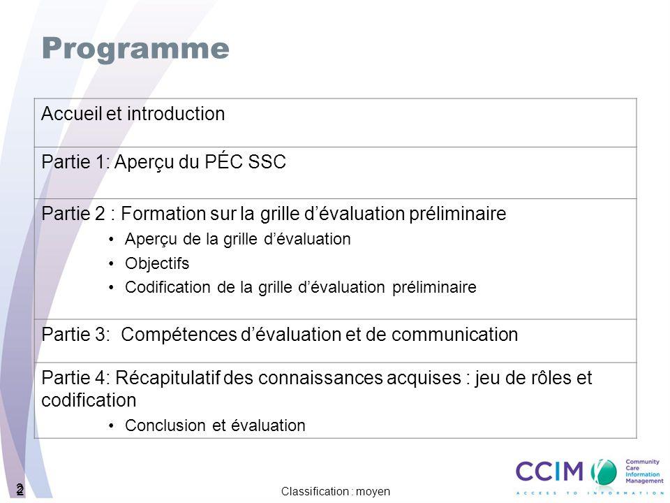 2 2 Classification : moyen 2 Programme Accueil et introduction Partie 1: Aperçu du PÉC SSC Partie 2 : Formation sur la grille dévaluation préliminaire