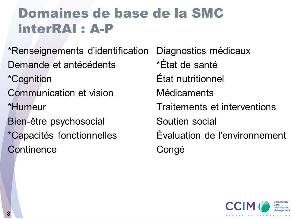 88 Domaines de base de la SMC interRAI : A-P *Renseignements didentification Demande et antécédents *Cognition Communication et vision *Humeur Bien-êt