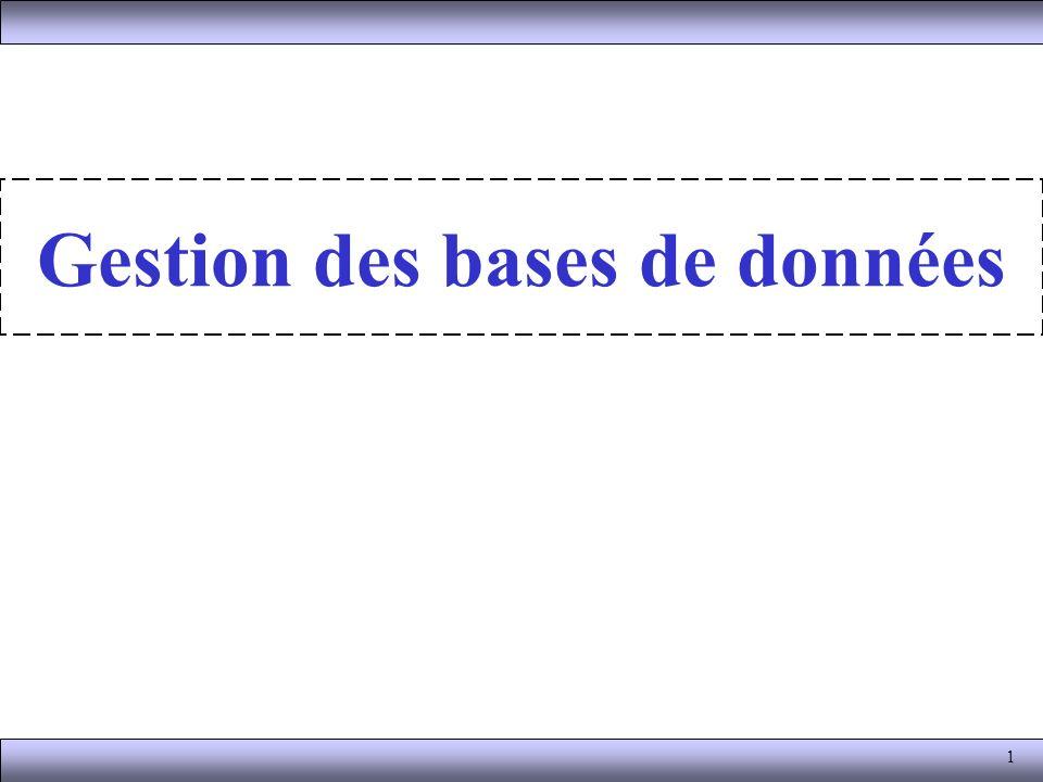 La gestion des bases de données Le SGBD est un ensemble de services (applications logicielles) permettant de gérer les bases de données, c est-à-dire : –permettre l accès aux données de façon simple, –autoriser un accès aux informations à de multiples utilisateurs, –manipuler les données présentes dans la base de données (insertion, suppression, modification) 12 Base de données