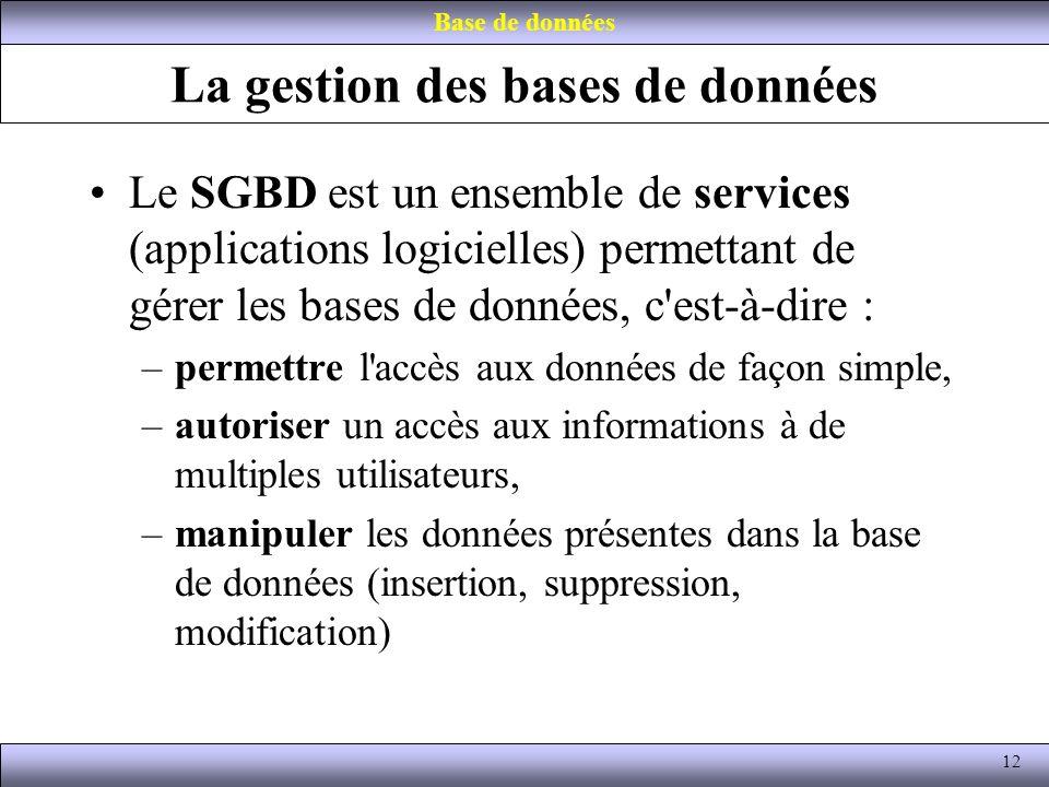 La gestion des bases de données Le SGBD est un ensemble de services (applications logicielles) permettant de gérer les bases de données, c'est-à-dire