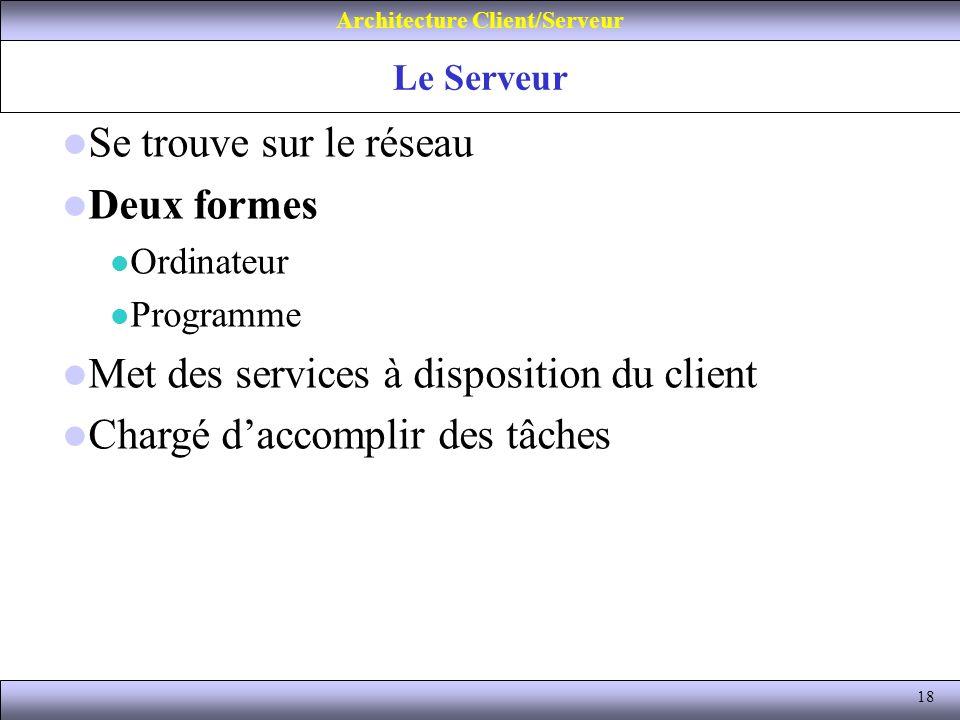18 Le Serveur Architecture Client/Serveur Se trouve sur le réseau Deux formes Ordinateur Programme Met des services à disposition du client Chargé dac