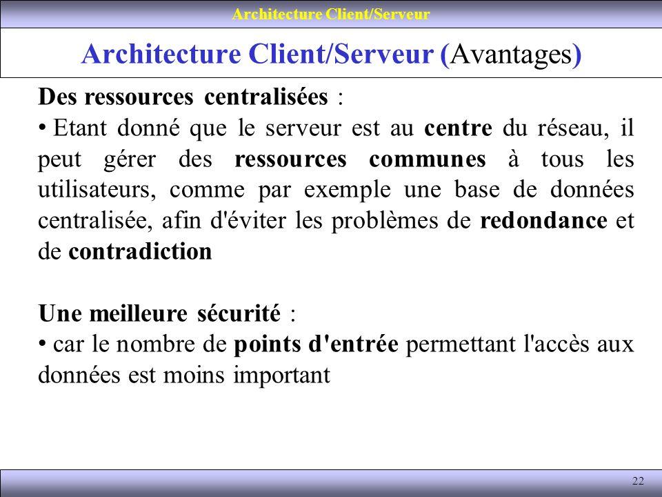 22 Architecture Client/Serveur (Avantages) Architecture Client/Serveur Des ressources centralisées : Etant donné que le serveur est au centre du résea