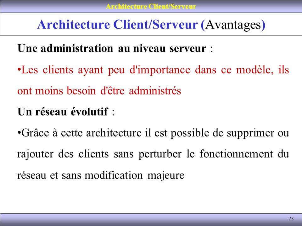 23 Architecture Client/Serveur (Avantages) Architecture Client/Serveur Une administration au niveau serveur : Les clients ayant peu d'importance dans