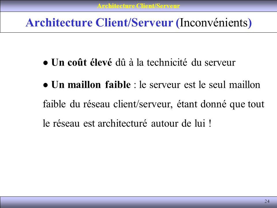 24 Architecture Client/Serveur (Inconvénients) Architecture Client/Serveur Un coût élevé dû à la technicité du serveur Un maillon faible : le serveur