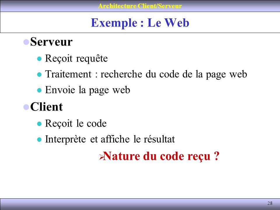 28 Exemple : Le Web Architecture Client/Serveur Serveur Reçoit requête Traitement : recherche du code de la page web Envoie la page web Client Reçoit