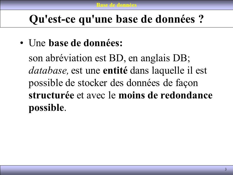 Qu'est-ce qu'une base de données ? Une base de données: son abréviation est BD, en anglais DB; database, est une entité dans laquelle il est possible