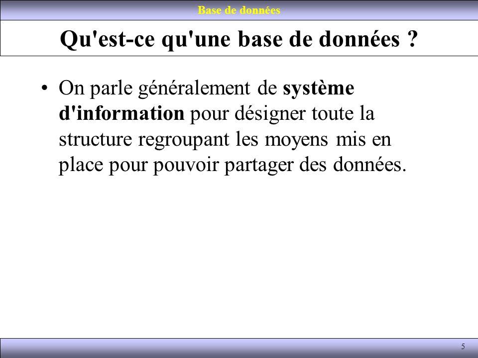 Qu'est-ce qu'une base de données ? On parle généralement de système d'information pour désigner toute la structure regroupant les moyens mis en place