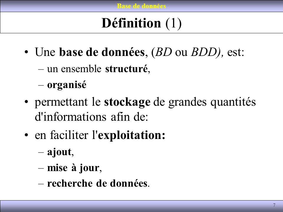 Définition (1) Une base de données, (BD ou BDD), est: –un ensemble structuré, –organisé permettant le stockage de grandes quantités d'informations afi