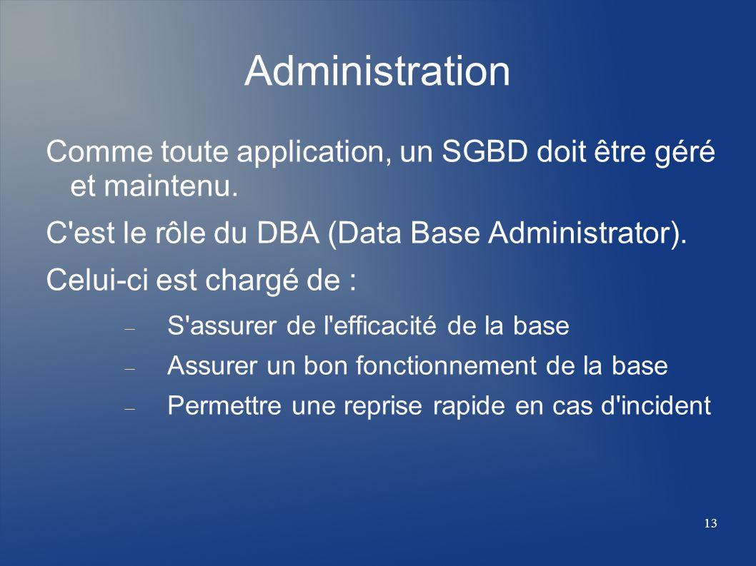 13 Administration Comme toute application, un SGBD doit être géré et maintenu. C'est le rôle du DBA (Data Base Administrator). Celui-ci est chargé de