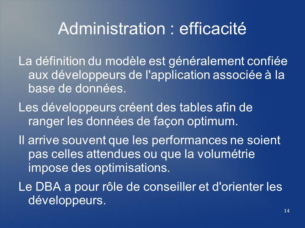 14 Administration : efficacité La définition du modèle est généralement confiée aux développeurs de l'application associée à la base de données. Les d