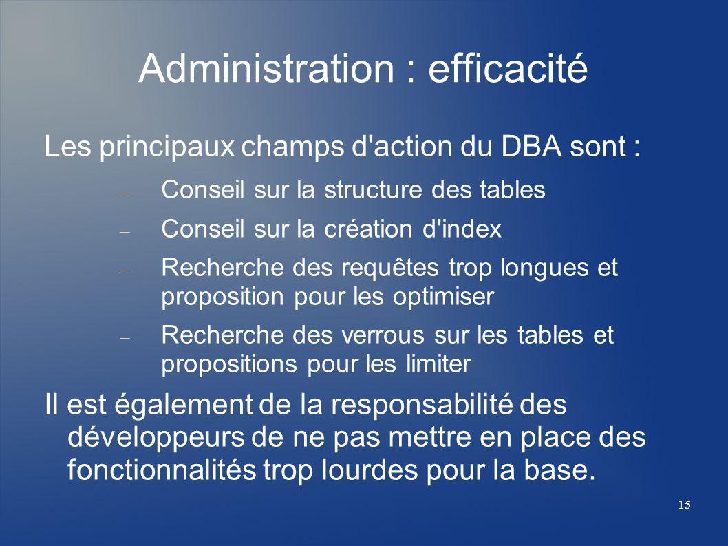 15 Administration : efficacité Les principaux champs d'action du DBA sont : Conseil sur la structure des tables Conseil sur la création d'index Recher