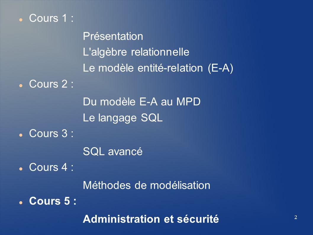 2 Cours 1 : Présentation L'algèbre relationnelle Le modèle entité-relation (E-A) Cours 2 : Du modèle E-A au MPD Le langage SQL Cours 3 : SQL avancé Co