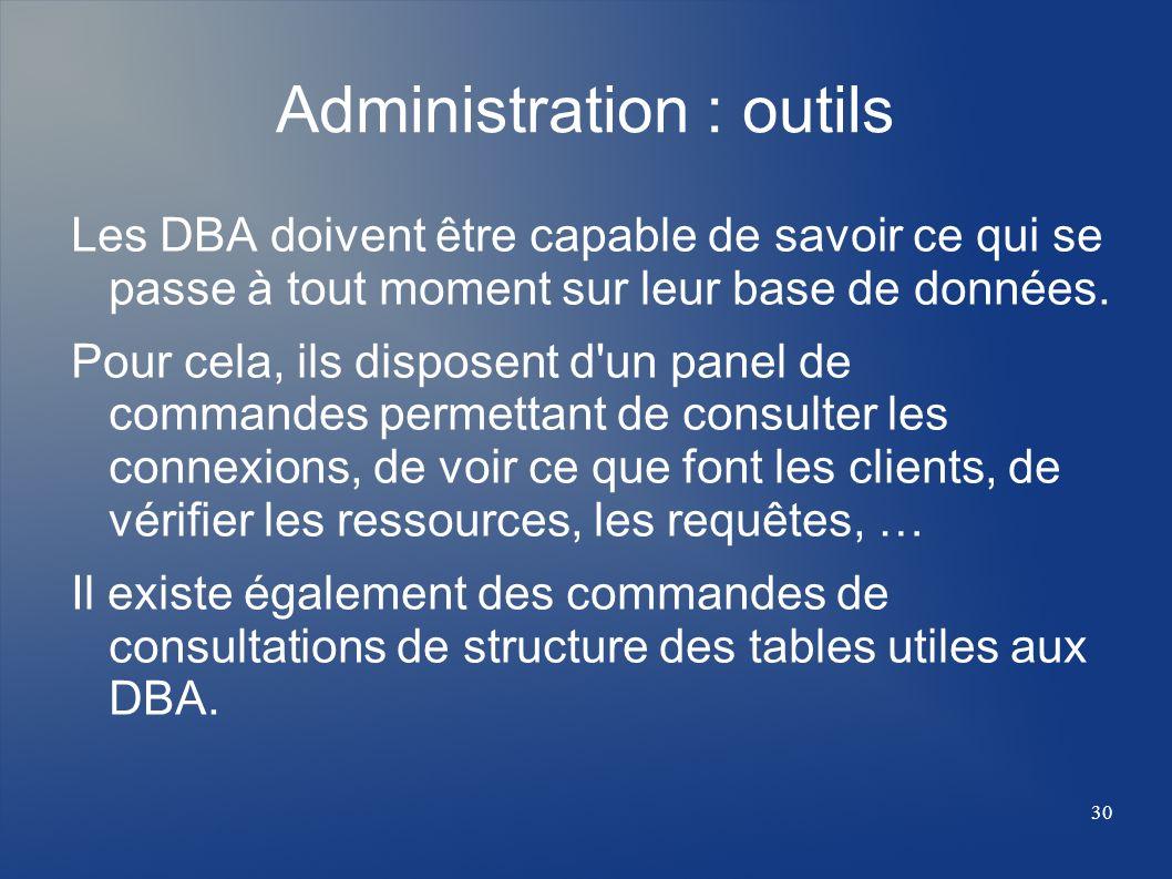 30 Administration : outils Les DBA doivent être capable de savoir ce qui se passe à tout moment sur leur base de données. Pour cela, ils disposent d'u