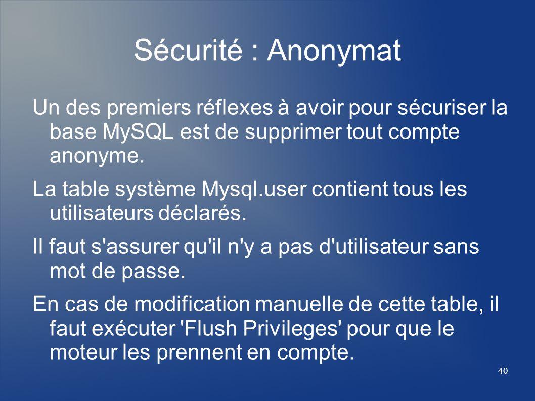 40 Sécurité : Anonymat Un des premiers réflexes à avoir pour sécuriser la base MySQL est de supprimer tout compte anonyme. La table système Mysql.user
