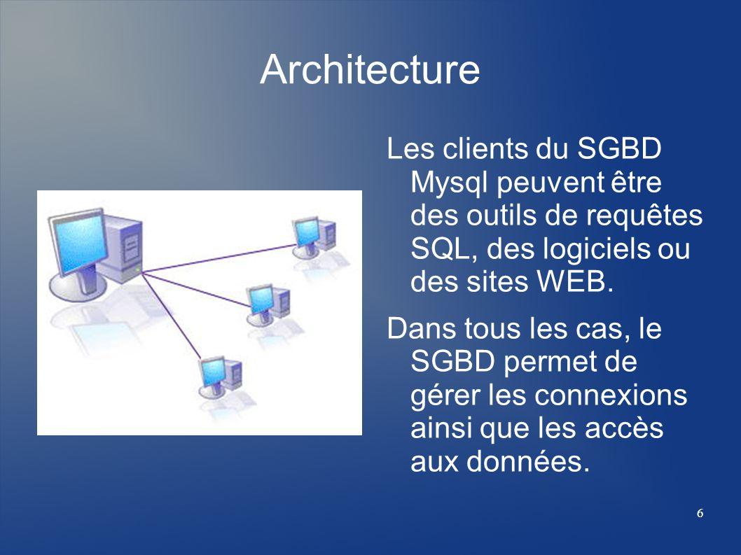 6 Architecture Les clients du SGBD Mysql peuvent être des outils de requêtes SQL, des logiciels ou des sites WEB. Dans tous les cas, le SGBD permet de
