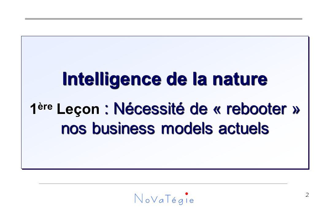 2 Intelligence de la nature 1 ère Leçon : Nécessité de « rebooter » nos business models actuels Intelligence de la nature 1 ère Leçon : Nécessité de « rebooter » nos business models actuels