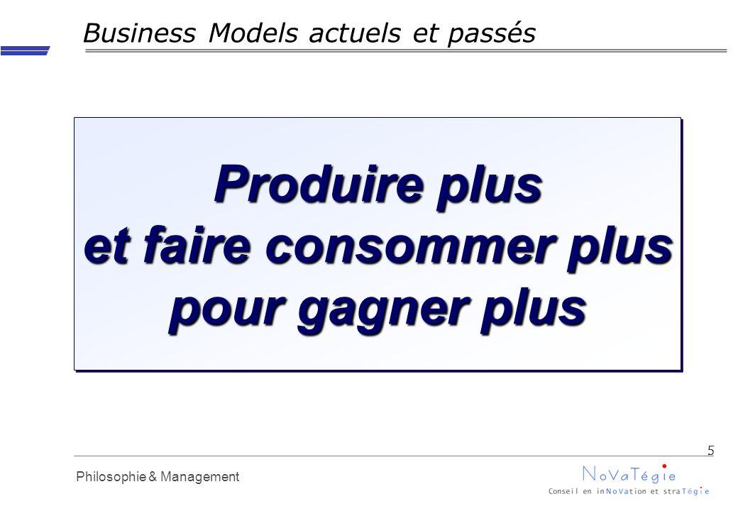 Propriété Novatégie - Reproduction interdite en dehors dAPM Philosophie & Management Business Models actuels et passés 5 Produire plus et faire consommer plus pour gagner plus