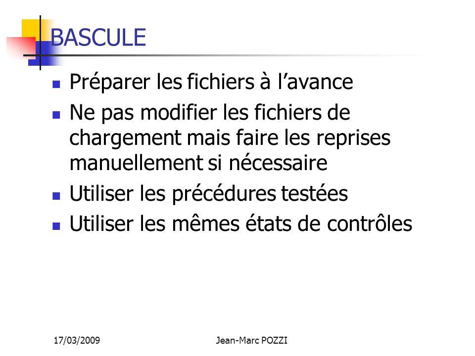 17/03/2009Jean-Marc POZZI BASCULE Préparer les fichiers à lavance Ne pas modifier les fichiers de chargement mais faire les reprises manuellement si n