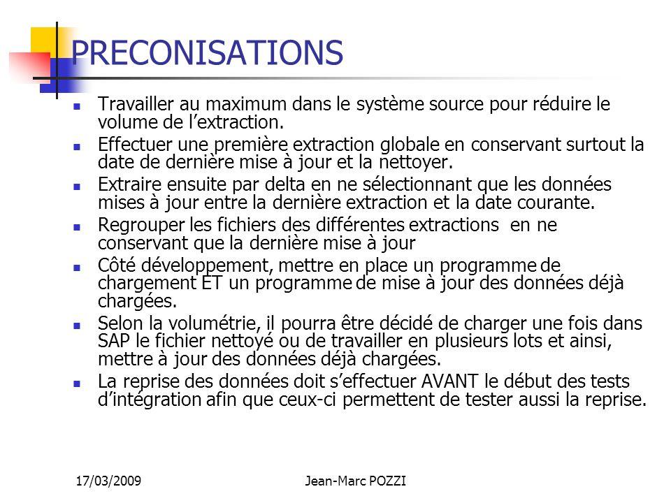 17/03/2009Jean-Marc POZZI PRECONISATIONS Travailler au maximum dans le système source pour réduire le volume de lextraction. Effectuer une première ex