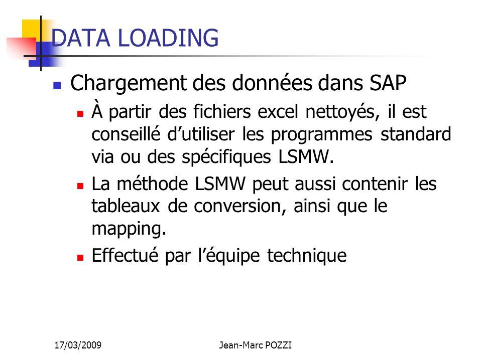 17/03/2009Jean-Marc POZZI DATA LOADING Chargement des données dans SAP À partir des fichiers excel nettoyés, il est conseillé dutiliser les programmes