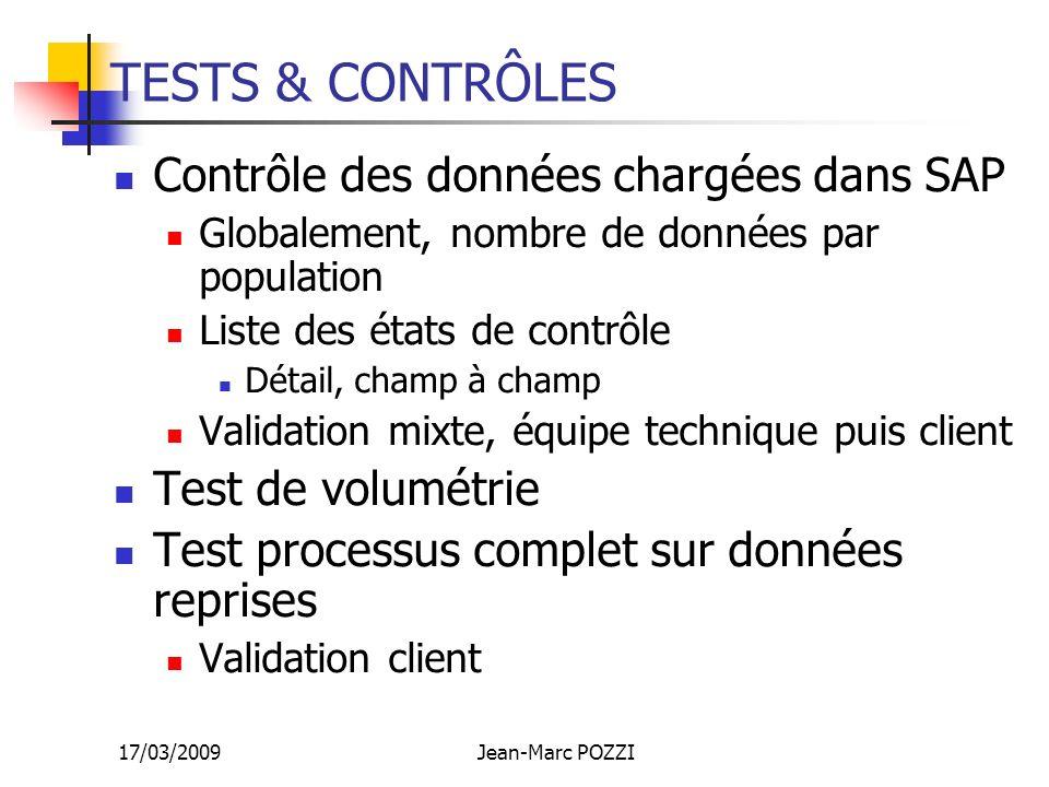 17/03/2009Jean-Marc POZZI TESTS & CONTRÔLES Contrôle des données chargées dans SAP Globalement, nombre de données par population Liste des états de co