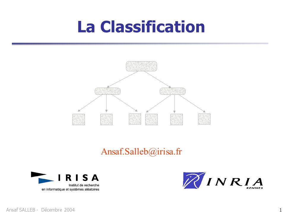 Ansaf SALLEB - Décembre 20041 La Classification Ansaf.Salleb@irisa.fr