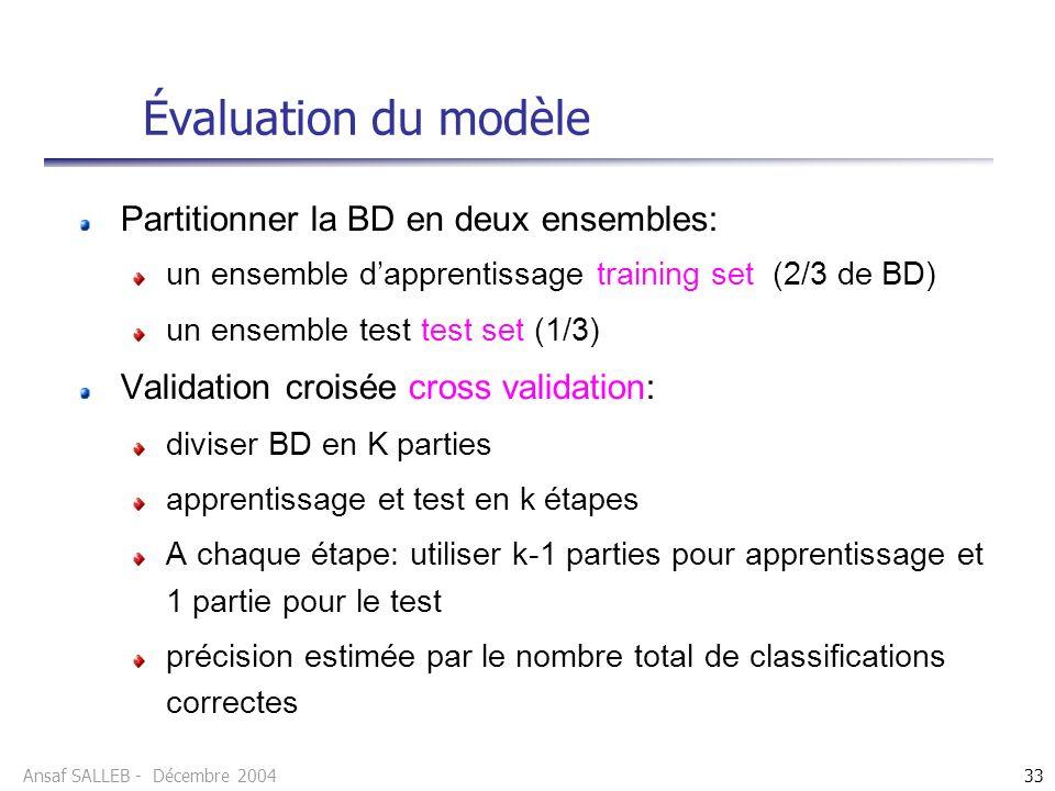 Ansaf SALLEB - Décembre 200433 Évaluation du modèle Partitionner la BD en deux ensembles: un ensemble dapprentissage training set (2/3 de BD) un ensemble test test set (1/3) Validation croisée cross validation: diviser BD en K parties apprentissage et test en k étapes A chaque étape: utiliser k-1 parties pour apprentissage et 1 partie pour le test précision estimée par le nombre total de classifications correctes