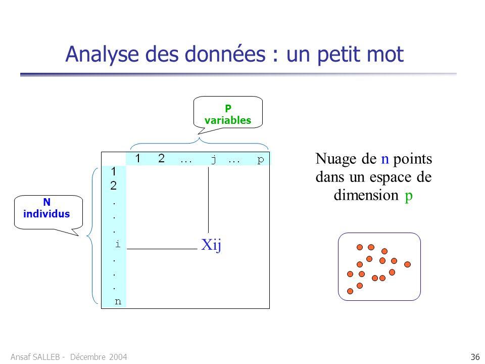 Ansaf SALLEB - Décembre 200436 Analyse des données : un petit mot P variables N individus Xij Nuage de n points dans un espace de dimension p