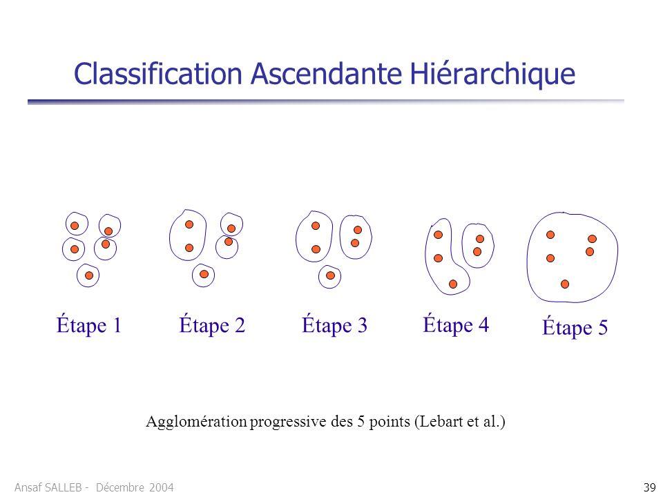 Ansaf SALLEB - Décembre 200439 Classification Ascendante Hiérarchique Agglomération progressive des 5 points (Lebart et al.) Étape 1Étape 2Étape 3 Étape 4 Étape 5