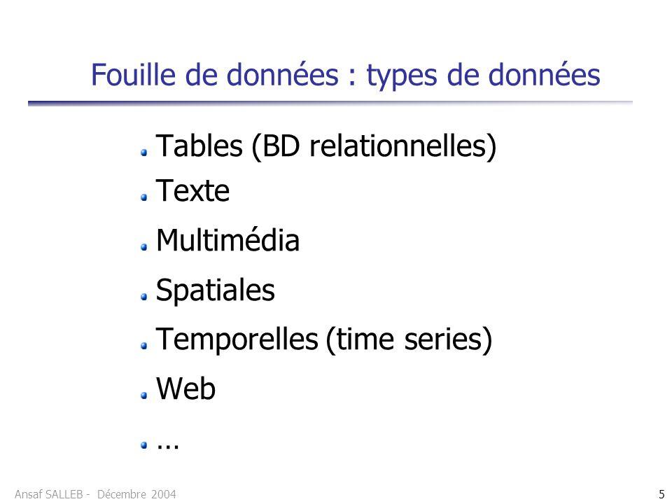 Ansaf SALLEB - Décembre 20045 Fouille de données : types de données Tables (BD relationnelles) Texte Multimédia Spatiales Temporelles (time series) We