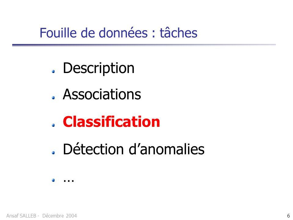 Ansaf SALLEB - Décembre 20046 Fouille de données : tâches Description Associations Classification Détection danomalies …