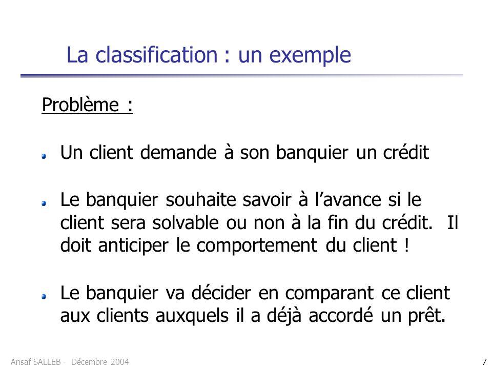 Ansaf SALLEB - Décembre 20048 Classer Construction dun modèle à partir dexemples (historique des clients) dont les classes sont connues à lavance (solvable, non solvable) Prédire Utiliser le modèle pour classer le client La classification : un exemple