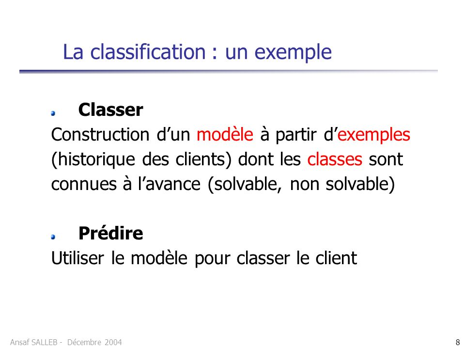Ansaf SALLEB - Décembre 20048 Classer Construction dun modèle à partir dexemples (historique des clients) dont les classes sont connues à lavance (sol