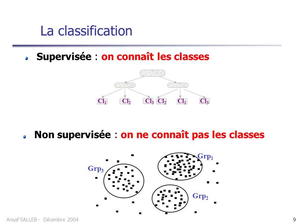 Ansaf SALLEB - Décembre 20049 La classification Supervisée : on connaît les classes Grp 1 Grp 2 Grp 3 Cl 1 Cl 2 Cl 3 Cl 2 Cl 1 Cl 3 Non supervisée : on ne connaît pas les classes