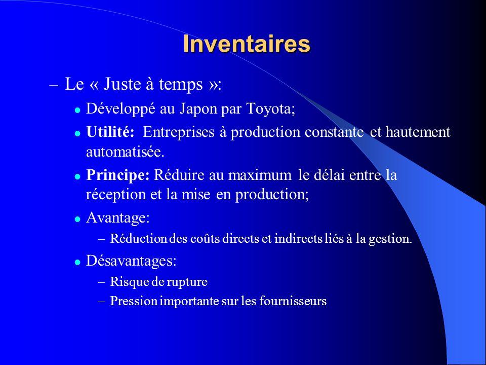 Inventaires – Le « Juste à temps »: Développé au Japon par Toyota; Utilité: Entreprises à production constante et hautement automatisée.
