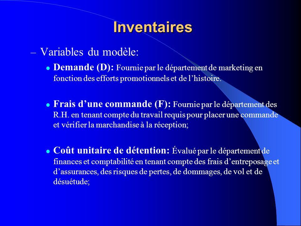 Inventaires – Variables du modèle: Demande (D): Fournie par le département de marketing en fonction des efforts promotionnels et de lhistoire.