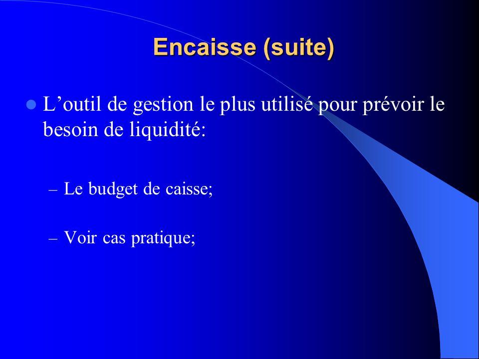 Encaisse (suite) Loutil de gestion le plus utilisé pour prévoir le besoin de liquidité: – Le budget de caisse; – Voir cas pratique;