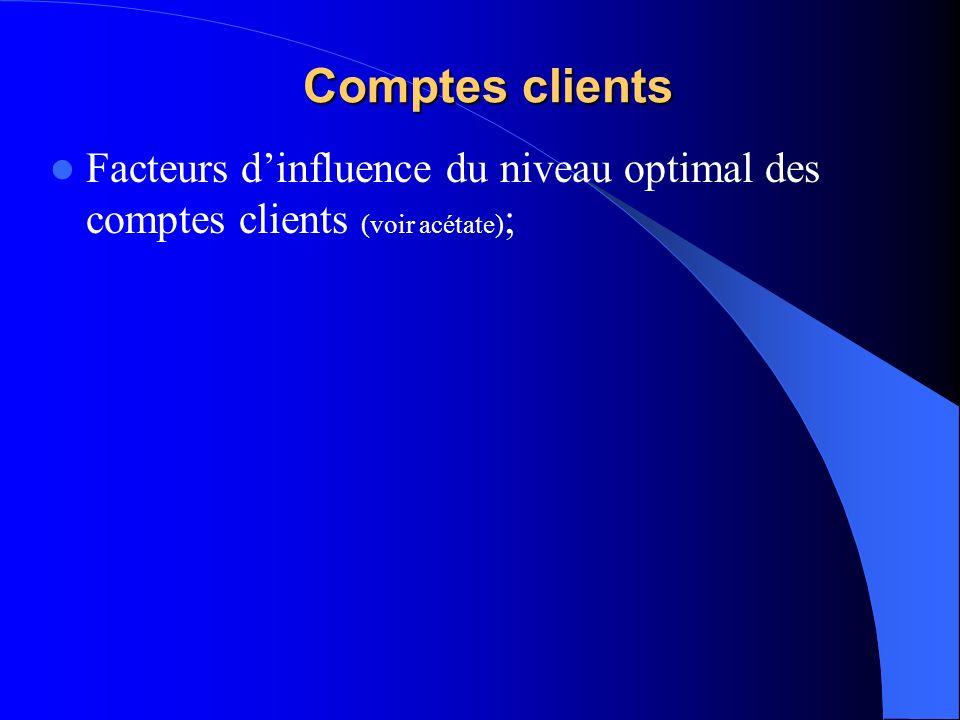 Comptes clients Facteurs dinfluence du niveau optimal des comptes clients (voir acétate) ;