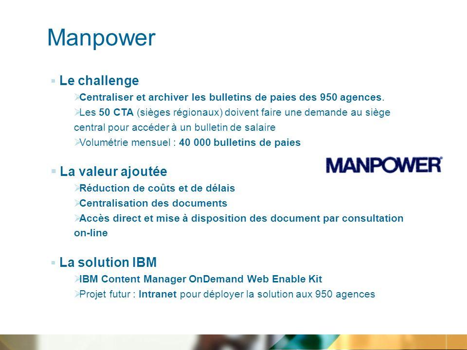 Manpower Le challenge Centraliser et archiver les bulletins de paies des 950 agences.