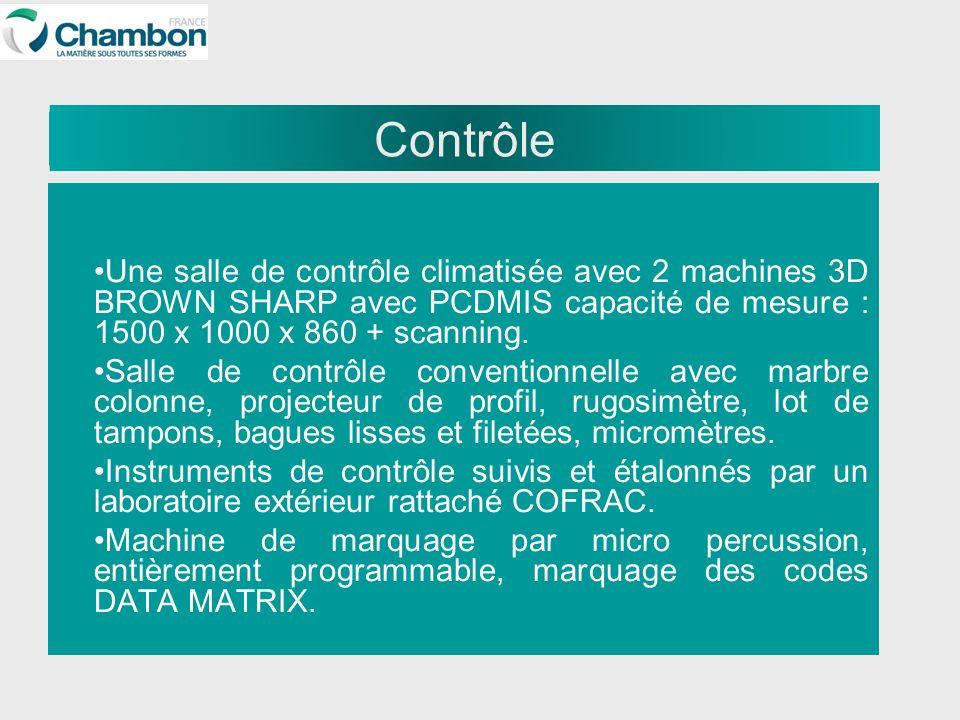 Contrôle Une salle de contrôle climatisée avec 2 machines 3D BROWN SHARP avec PCDMIS capacité de mesure : 1500 x 1000 x 860 + scanning. Salle de contr
