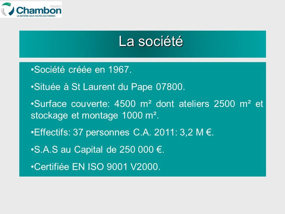 Société créée en 1967. Située à St Laurent du Pape 07800. Surface couverte: 4500 m² dont ateliers 2500 m² et stockage et montage 1000 m². Effectifs: 3