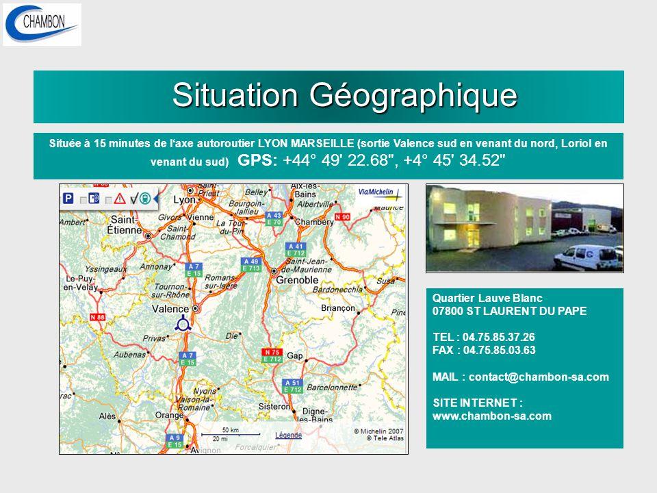 Situation Géographique Située à 15 minutes de laxe autoroutier LYON MARSEILLE (sortie Valence sud en venant du nord, Loriol en venant du sud) GPS: +44