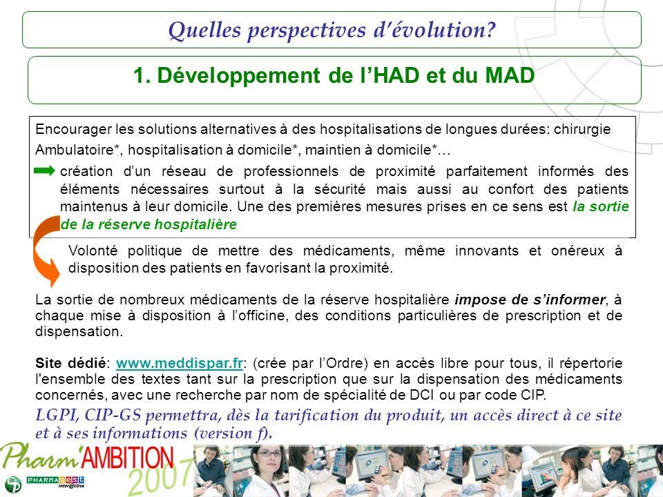 Pharm Ambition – Service Clients Avril 2007 1. Développement de lHAD et du MAD Encourager les solutions alternatives à des hospitalisations de longues