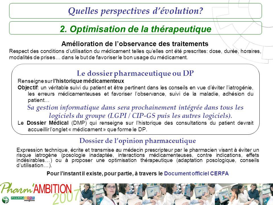 Pharm Ambition – Service Clients Avril 2007 2. Optimisation de la thérapeutique Le dossier pharmaceutique ou DP Renseigne sur lhistorique médicamenteu