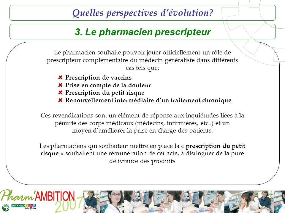 Pharm Ambition – Service Clients Avril 2007 3. Le pharmacien prescripteur Le pharmacien souhaite pouvoir jouer officiellement un rôle de prescripteur
