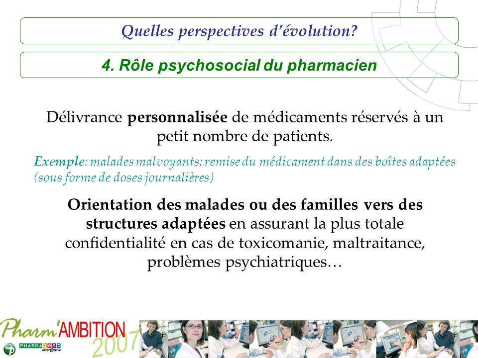 Pharm Ambition – Service Clients Avril 2007 4. Rôle psychosocial du pharmacien Délivrance personnalisée de médicaments réservés à un petit nombre de p