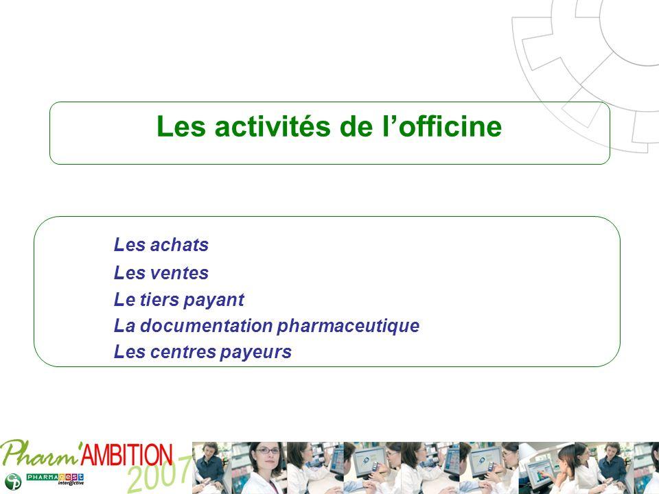 Pharm Ambition – Service Clients Avril 2007 Les activités de lofficine Les achats Les ventes Le tiers payant La documentation pharmaceutique Les centr